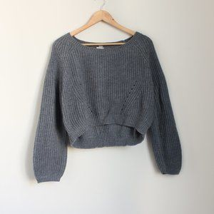 Garage Gray Knit Cropped Sweater